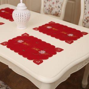 2 PC's Christmas Hollow geborduurd eettafel Mat willekeurige stijl levering grootte: 43 * 28cm