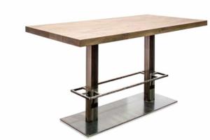 24Designs Hoge Eettafel Cross - L180 X B90 X H92 Cm - Massief Eiken Tafelblad - Industrieel Onderstel