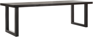 24Designs Night Eettafel - L250xB90xH78 Cm - Tafelblad Zwart Gelakt Hout - Zwarte Metalen Poten